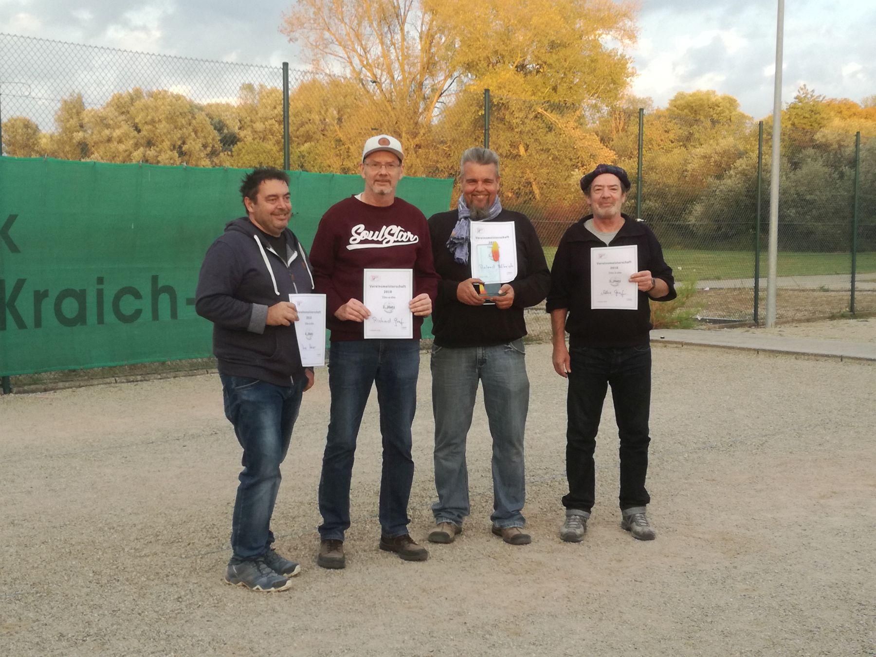 Uwe Platz 4, Alex Platz 3, Richard Platz 2, Roland Platz 1